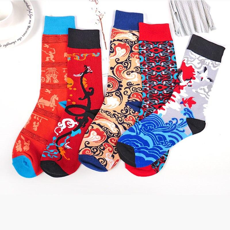 Mode Creative chinois hommes femmes Couples chaussettes rues tendance Harajuku mignon Hip Hop grue carpe nuage motif heureux chaussettes drôles