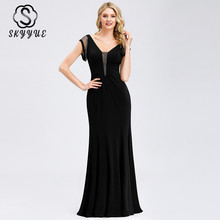 Skyyue Short Sleeve Elegant Robe De Soiree Formal Gowns 2019 Plus Size Sexy Double V-neck Evening Dress Women Party Dresses C557