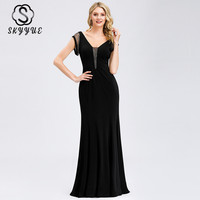 Skyyue Short Sleeve Elegant Robe De Soiree Formal Gowns 2019 Plus Size Sexy Double V neck Evening Dress Women Party Dresses C557