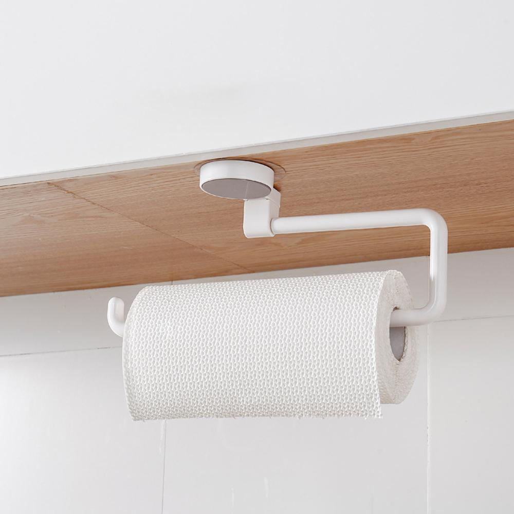 Roll Paper Towel Rack Holder Kitchen Shelf From Punching Non-trace Bathroom Towel Paper Rack Mounts Receive Frame