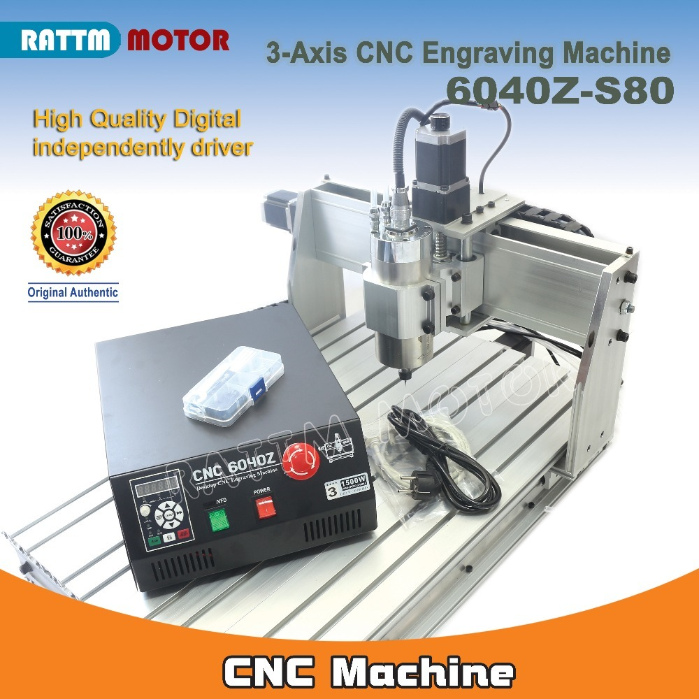 3 Axis 6040 CNC 6040Z-S80 1.5KW 1500W Mach3 CNC Router Milling Cutting Engraving Machine 110V/220VAC Parallel Port