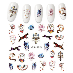 AMGK Lovely Animals Series Nail Stickers Cat Wolf flamingo Owl Flower Slider for Manicure Nail Art Decoration