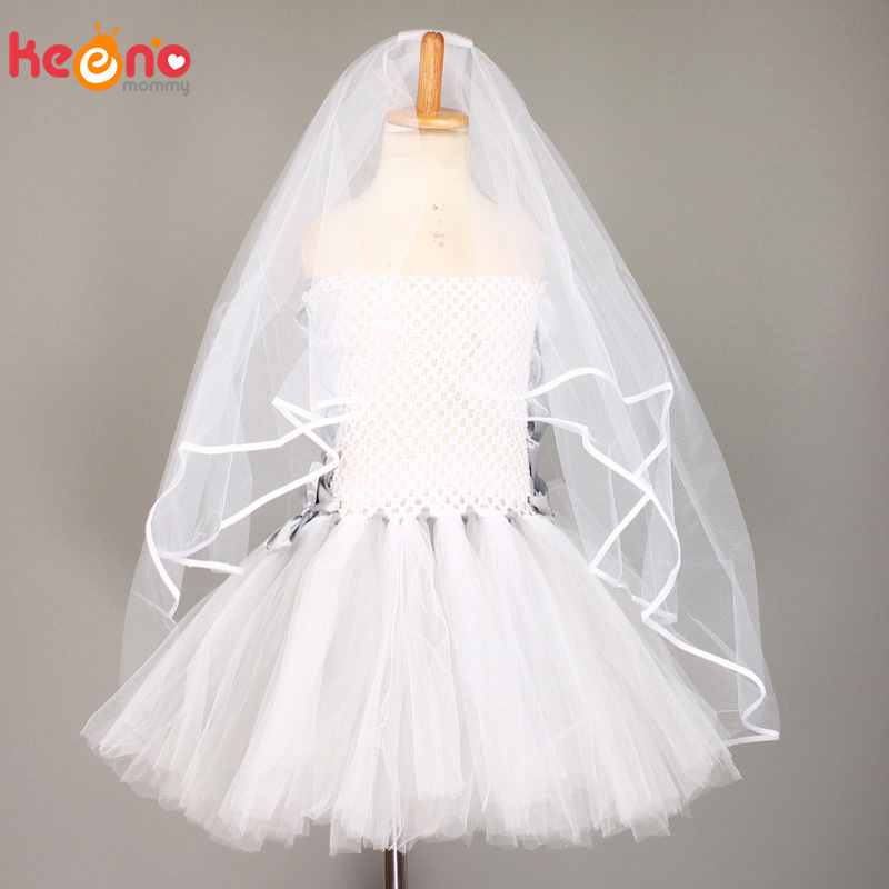Dead Bride Girls Tutu Dress White Gray Scary Theme Girls Halloween Costume Clothes for Kids Carnival Cosplay Party Dresses 1