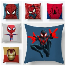 Marvel Superheroes Cushion Cover 45x45cm Spiderman Caption America Iron man Print Home Decora Soft Pillowcase adornment Gifts