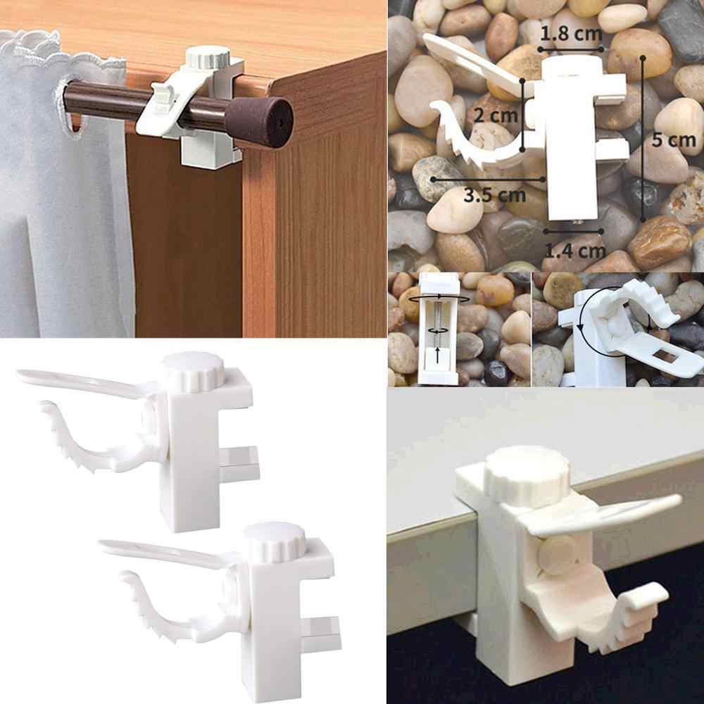 2pcs adjustable support bracket towel hook clip self adhesive shower curtain organized rods hooks rod holder bathroom holder q4