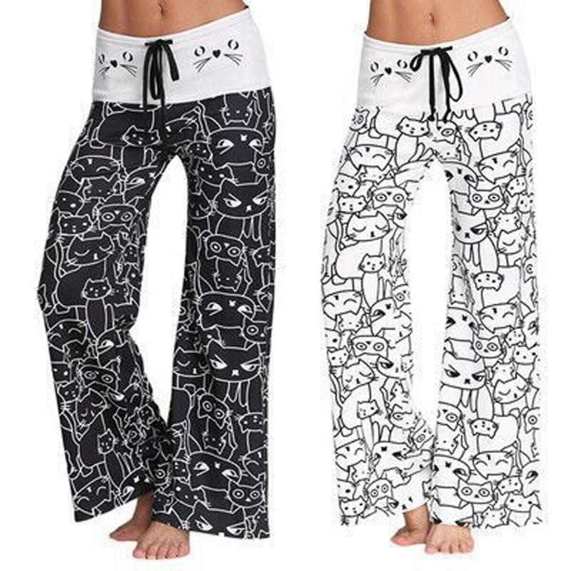 Summer Women Wide Leg Pants Cat Printed Drawstring High Waist Casual Trousers