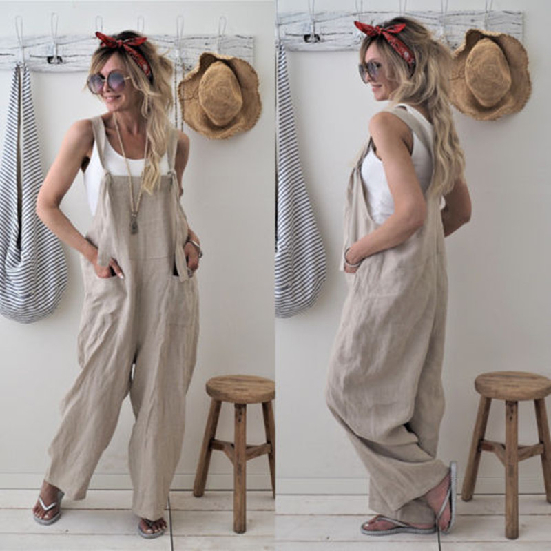 2020 Hot Sale Casual Loose Cotton Linen Overalls For Women Black Beige Wide Leg Cropped Pants Jumpsuit Female Summer Clothing