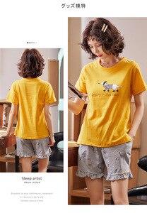 Image 5 - シンプルなパジャマパジャマ女性のパジャマ綿半袖女性のスパースターセットホームウェアかわいい漫画ラウンジ着用tシャツサイズについて
