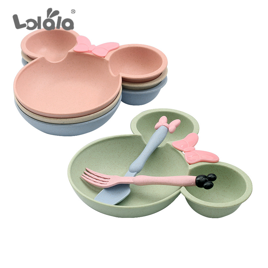 3 Set Covered Together Cute Cartoon Mickey Cartoon Children's Fruit Plate Dinner Bowl Spoon And Fork Children Training Dishes