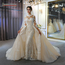 wedding dress 2 in 1 lace mermaid wedding dress with detachable train 100% real work photo