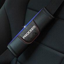 For Kia Proceed 2pcs Fashion Carbon Fiber Leather Car Seat Belt Cover Car Seat Belt Shoulder Pad Car Accessories