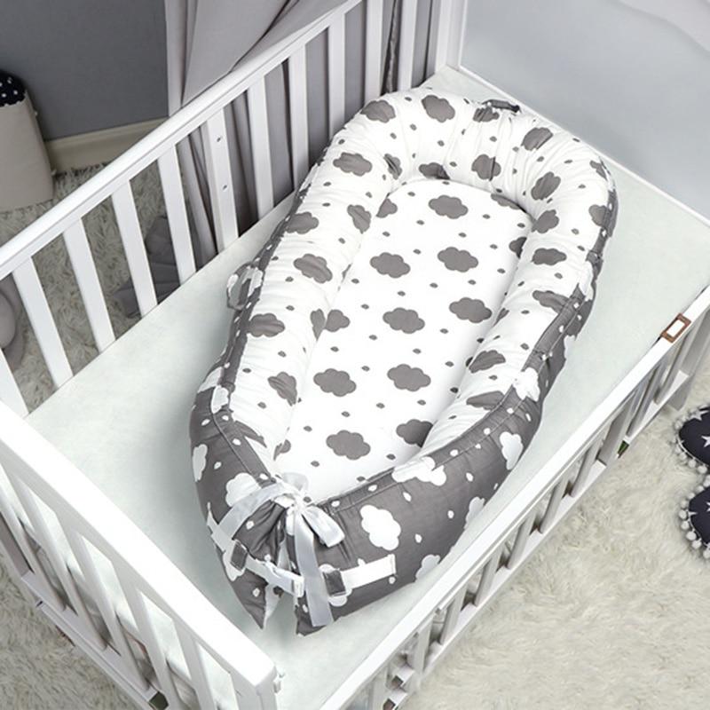 80*50cm Newborn Baby Sleep Nest Bed Bumper Removable Newborn Protector Cushion Cotton Infant Crib Cradle Babies Cot Bassinet