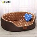 Диван-кровать для собаки  мягкая флисовая кровать для питомца  собаки  кошки  теплый узор в горошек  высокое качество  собачьи матрасы-лежанк...