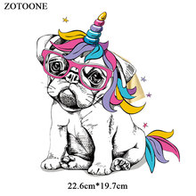 ZOTOONE Iron on Dog Patches for Clothing Applique Printed DIY Embroidered Cartoon Unicorn Patch Heat Transfers Clothes G