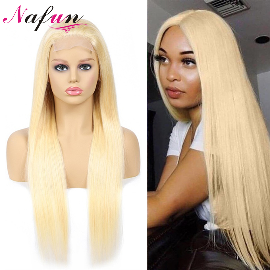 4X4 613 Lace Front Human Hair Wigs Brazilian Straight Blond Lace Front Wigs For Women Remy 150% Density Blonde Lace Front Wigs