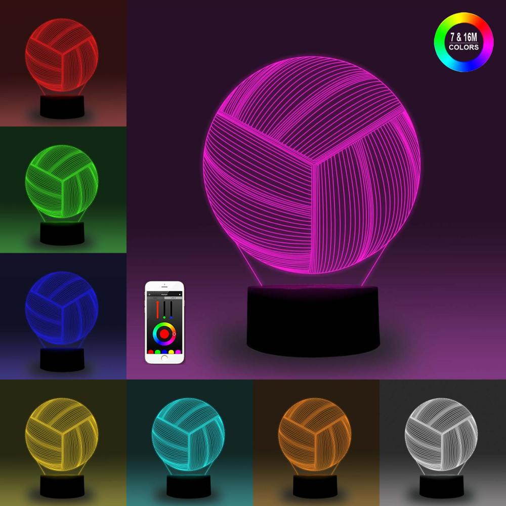 NiteApps 3D Volleyball Night Light Desk Table Illusion Decoration Lamp Holiday Birthday Gift APP/Touch Control