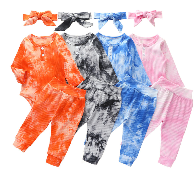 Newborn Baby Girls Boys Tie Dye Clothes Long Sleeve Pullover Hoodie Sweatshirt Ripped Pants Tracksuit Outfits Set