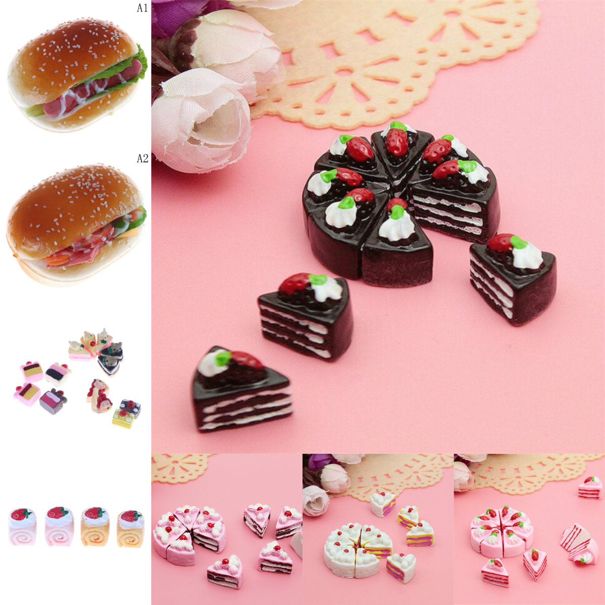 10PCS Simulation Mini Resin Cake Dollhouse Miniature Food Scene Model DIY Doll House Accessories Resin Cake Model
