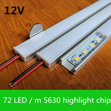 10-20 sets of 72LED / m 12V hard light bar highlights 5630 chip aluminum profile channel PC cover DHL free shipping