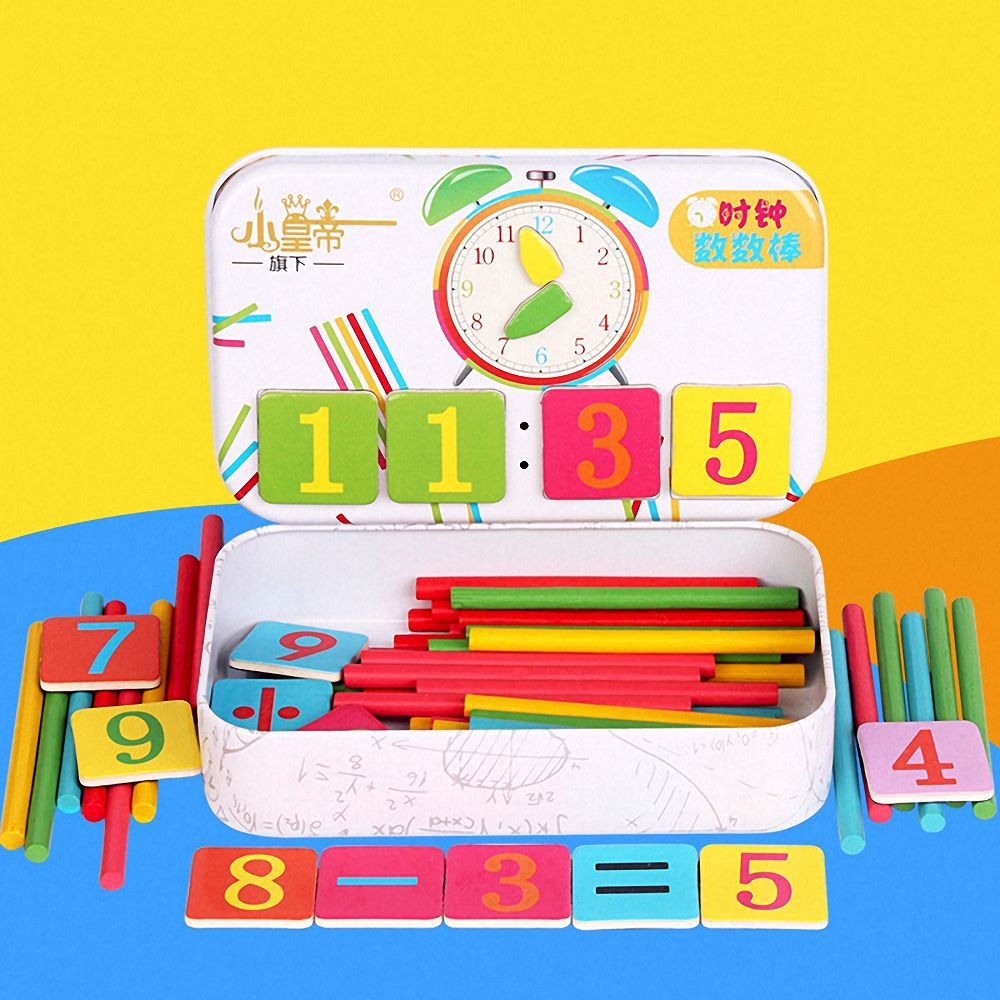 Montessori Magnetic Iron Box Digital Clock Math Toy Number Counting Toy Wooden Stick Baby Kids Learning Educational Toy Gifts(China)