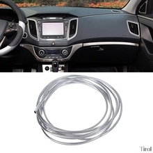 купить 3mx6mm Chrome Trim Strip Bumper Air Vent Grille Switch Rim Moulding U Style Car Interior Decor дешево