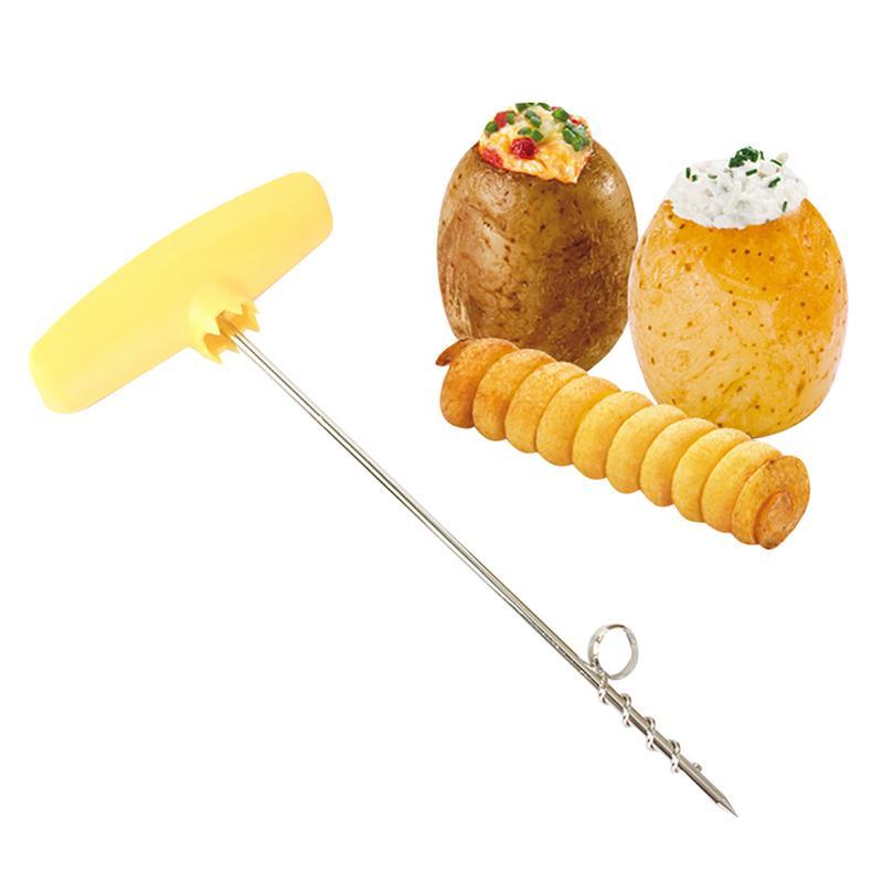 Распродажа Творческий из нержавеющей стали картофеля ротационный картофель лоток спиральная овощерезка Ножи ручка с картофельный рулон К...