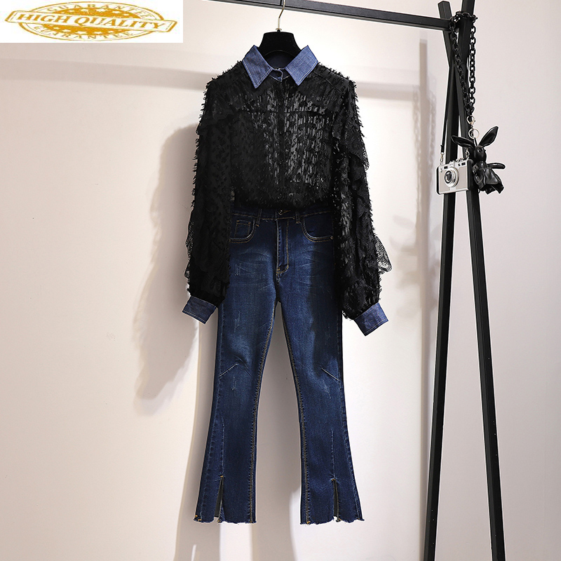 Women's Two Piece Set Blouse Fashion Korean Jeans Outfit 2 Piece Pants Sets Women Long Sleeve Shirt Conjuntos De Mujer KJ1748