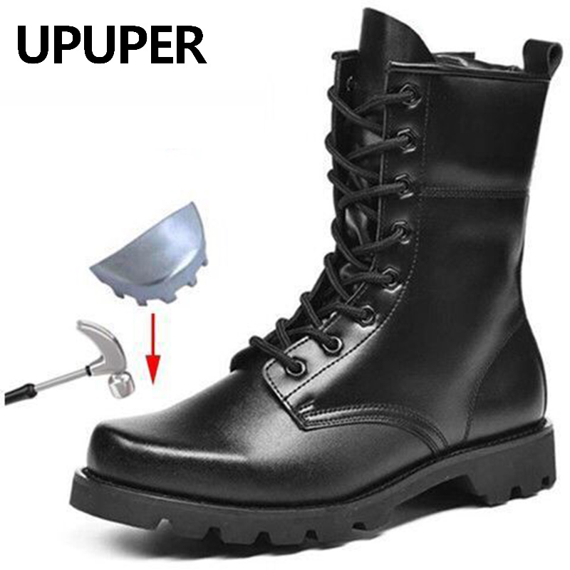 UPUPER Combat Men Boots Winter Shoes Men Military Boots Waterproof Leather Army Boots Men Safety Work Shoes Men 2019
