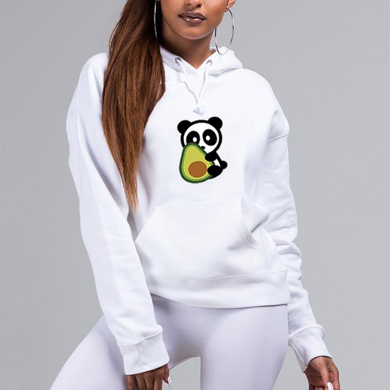 Cute Panda Avocado Kawaii Womens Hoodies Pullover White Hoodie Streewear Female Clothes Winter Regular Clothing Outwear Tops