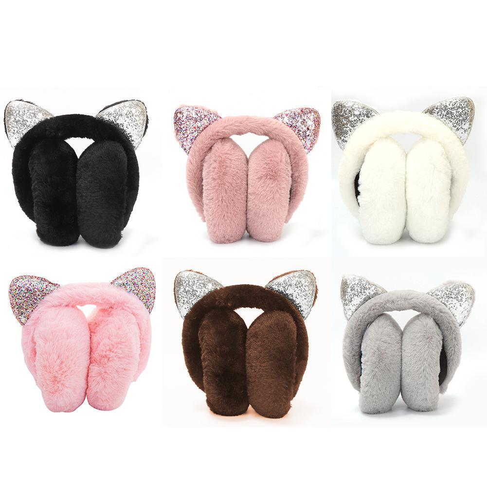 Fashion Winter Autumn Faux Fur Earmuffs Cute Cat Ear Plush Earmuff For Girls Ladies Women Hairbands Shiny Sequin Ear Muffs