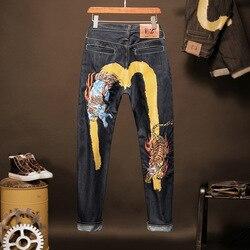 2020 Evisu Nuovo casual degli uomini Dei Jeans di Modo della Tigre Del Ricamo Stampato Top Qualità Degli Uomini Dei Jeans Diritti degli uomini di Caldo Traspirante pantaloni