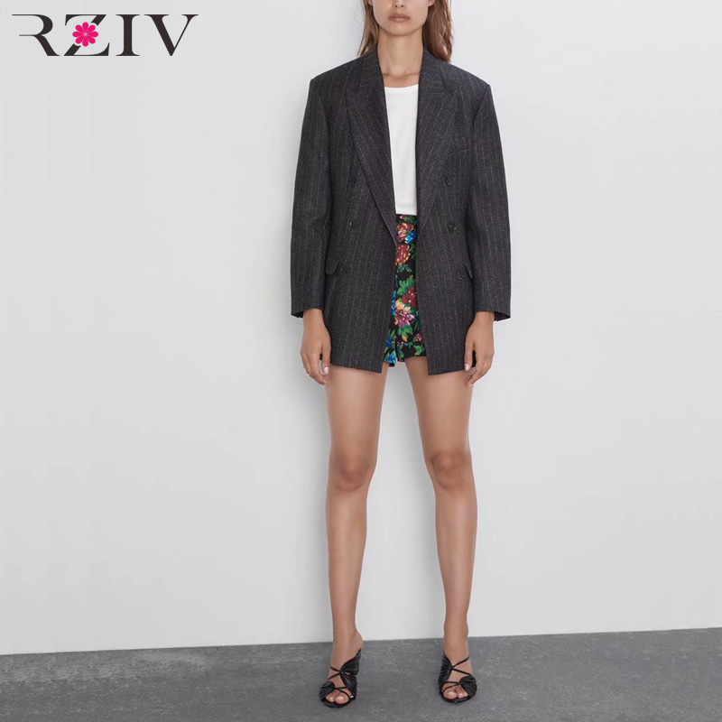 RZIV Autumn and winter women's suit casual striped double-breasted pocket decorative suit