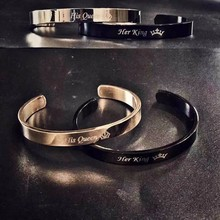 Vnox Free Engraving Custom Basic Bangles for Women Men Simple Stainless Steel Couple Cuff Bracelets Valentine's Day Gift