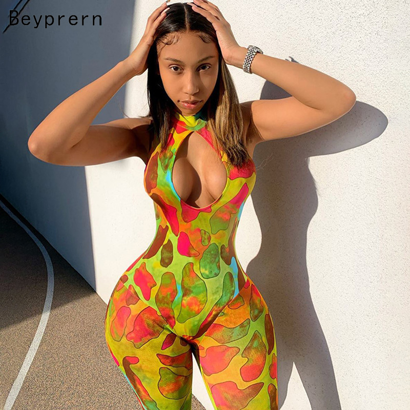 Beyprern Fashion Cut Out Tie Dye Sexy Jumpsuit Romper Womens Print Jumpsuit Long Pants Summer Overalls Workout Jumpsuits Rompers
