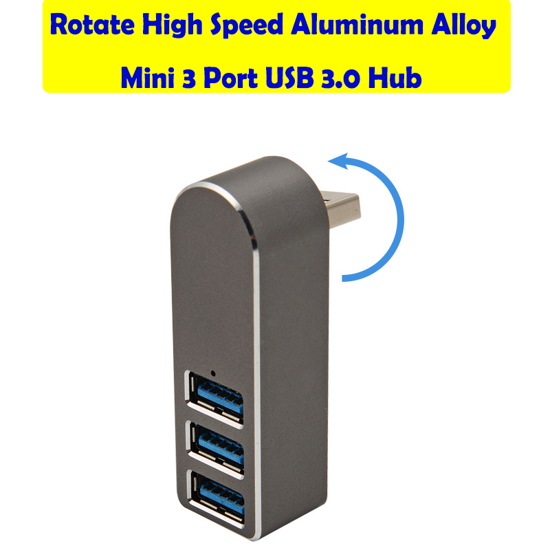 High Speed Aluminum Alloy Mini 3 Port USB 3.0 Hub Rotate USB Splitter Adapter For PC Laptop 3 Port Usb Hub