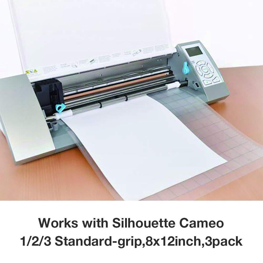 3Pcs Replacement Cutting Mat Transparent Adhesive Mat With Measuring Grid 8 By 12-Inch For Silhouette Cameo Plotter Machine