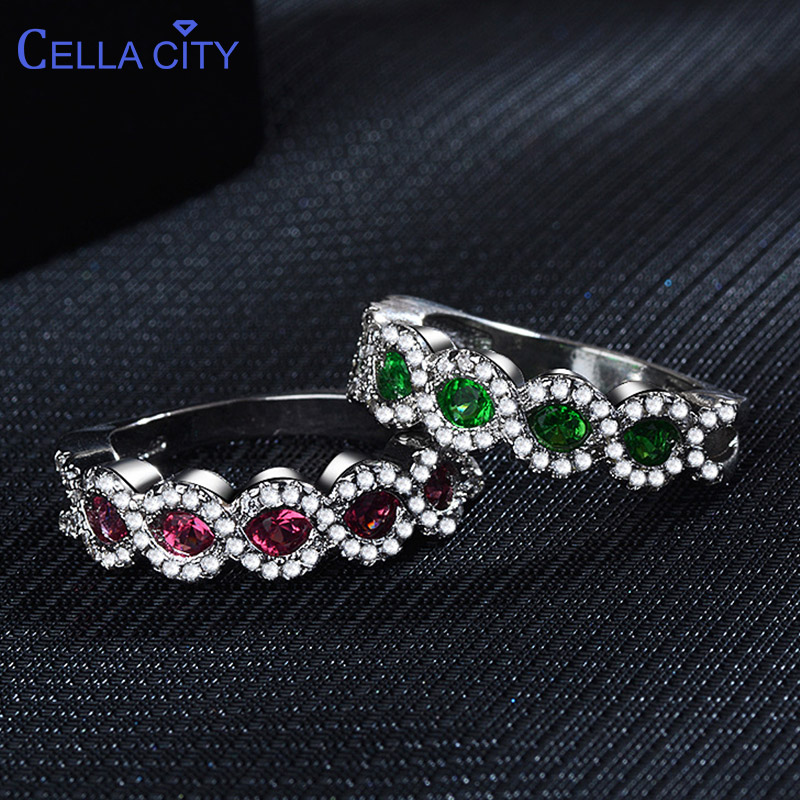 Cellacity Trendy Female Silver 925 Jewelry With Gemstones Rings For Women Round Ruby Emerald Wavy Anniversary Gift Wholesale
