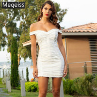 2019 New Summer Dress Sexy Off Shoulder Ruched Bodycon Dress White Woman Birthday Party Dress Elegant Chic Ruffle Robe Femme
