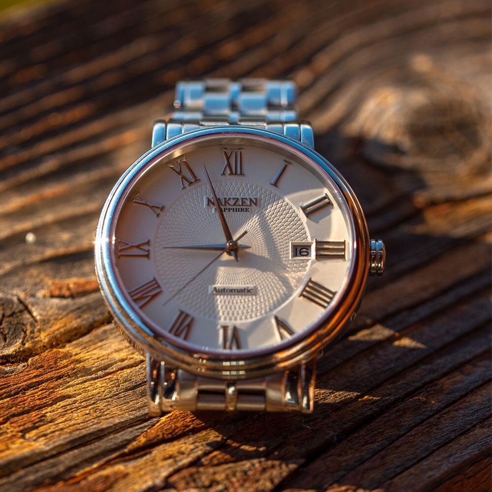 NAKZEN Men Classic Automatic Mechanical Watches Brand Luxury Man Stainless Steel Wristwatch Clock Relogio Masculino Miyota 9015