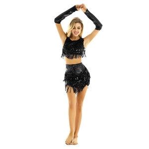 Image 3 - Womens Femme Sequine Tassels Tango Latin Skating Dance Costumes Crop Tops with Skirt Fingerless Gloves Figure Skating Dresses