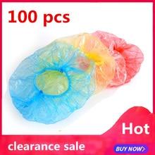 100 шт шапочка для плавания, для сауны, для ванной, прозрачная, одноразовая, пластиковая, для душа, для ванной, s для спа-салона, для волос, Атласная шапочка, famiglia