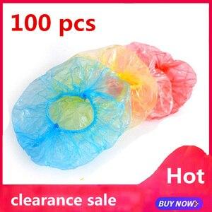 100pcs Swimming Cap Sauna Bath Hat Clear Disposable Plastic Shower Bath Caps for spa Salon Hair Bonnet Satin Bonnet famiglia(China)