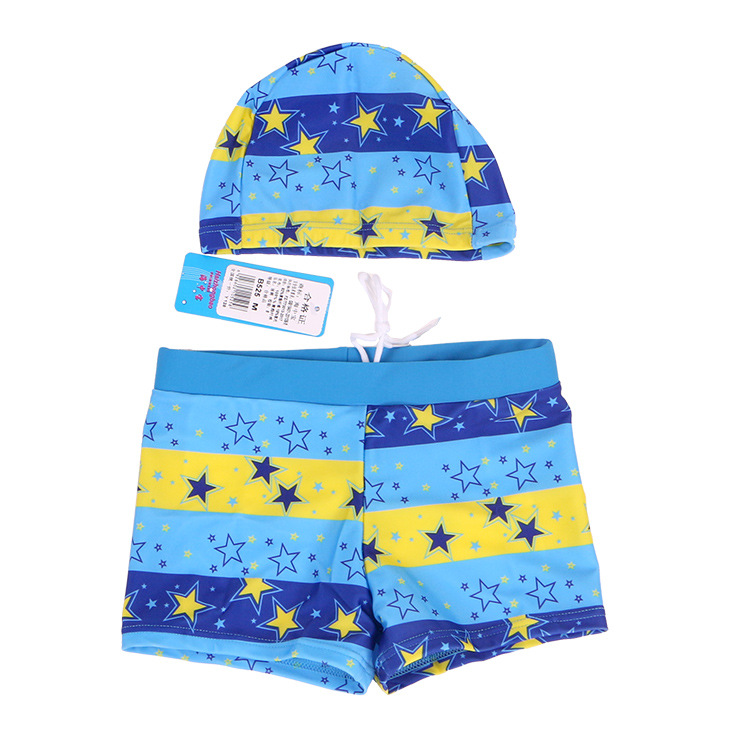 Children Swimming Trunks KID'S Swimwear BOY'S Swimsuit Swimming Trunks Star Cute Boxer Hooded Swimming Trunks Big Kid Swimming T