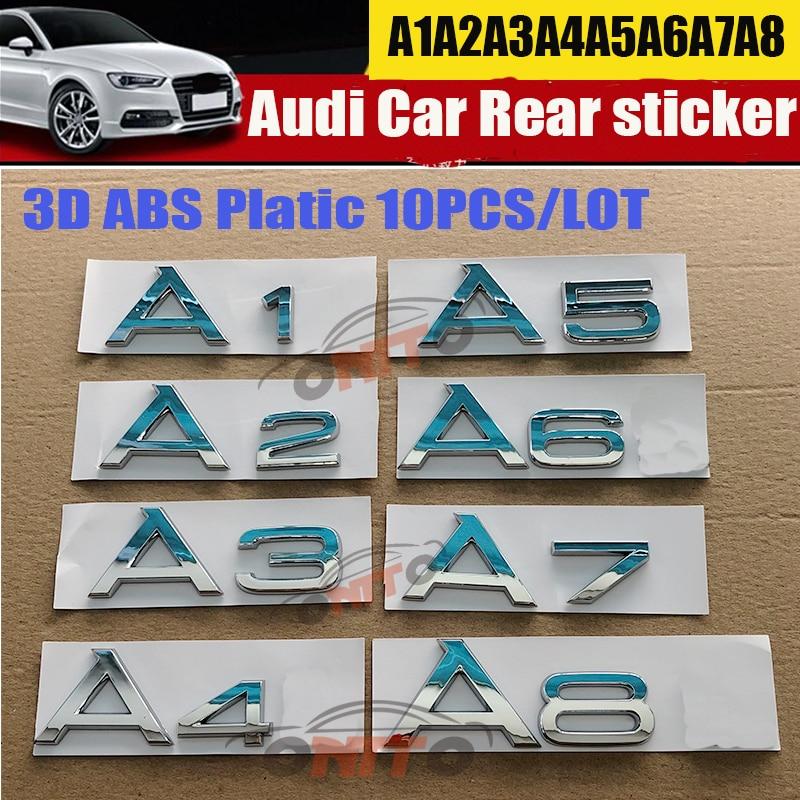 Хорошо 1 шт. для Audi A1 A2 A3 A4 A5 A6 A7 A8 Auto эмблема логотип письмо наклейки автомобиля хвост сзади загрузки декоративный значок авто-Стайлинг этике...