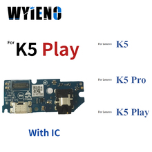 Wyieno Charging Port Board For Lenovo K5 K5Pro Play Micro USB Charger Connector Flex Cable With Microphone Audio Jack Tracking