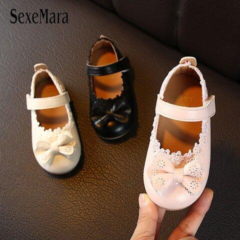2020 novo design primavera meninas sapatos de couro flores sapatos para meninas do bebe infantil
