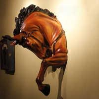 Американская креативная статуя лошади из смолы, украшение на стену, украшение на стену с головой животного, статуэтка для гостиной, домашни...