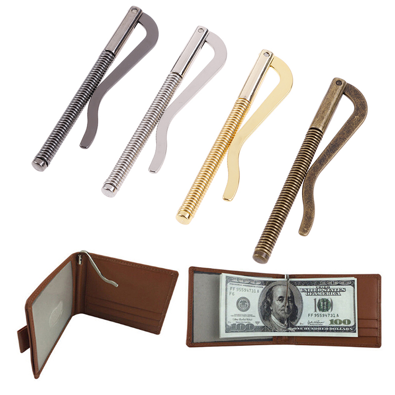 1pc novo metal bifold dinheiro clipe barra carteira substituir peças primavera braçadeira titular de dinheiro