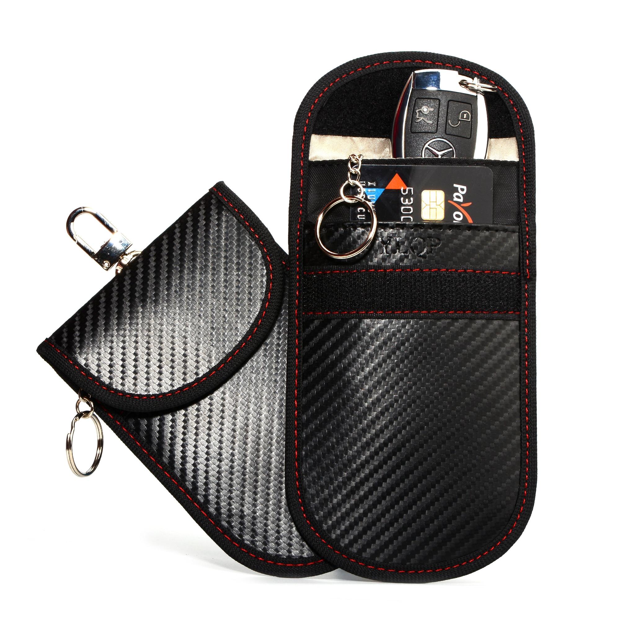 Faraday Cage Key Fob Protector RFID-Blocking Faraday Pouch Bag Car Key Holder Anti-Hacking Keyless Entry Signal Blocker Defender