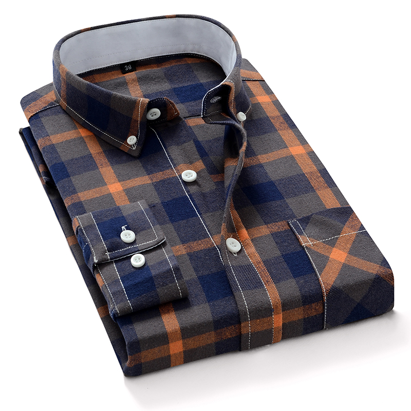 Aoliwen brand 2020 new men's plaid cotton shirt soft and comfortable spring men's slim business casual long-sleeved shirt